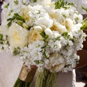 Hand-Tied Bouquet of David Austin Roses, Freesia and Stock