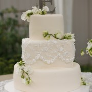 Fondant Cake with Lace Overlay and Sweet Pea