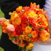 Bridal Bouquet Bursting with Rich Orange Tones