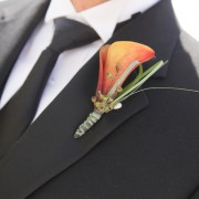 Mini Calla Lily and Eucalyptus Groom Boutonniere