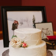 Wedding Cake Accented with Artificial Garden Roses