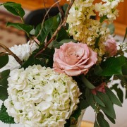 Hydrangea, Stock and Custom-Colored Rose Reception Table Arrangement