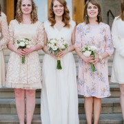 Custom-Colored Blush and Ivory Bridesmaids Bouquets