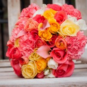 Custom-Colored Coral, Canary and White Bridal Bouquet.