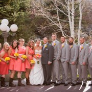 Coral, Canary and Silver Bridal Party