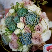 Blush, White and Mint Bridal Bouquet