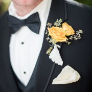 Groom Boutonniere-- Seeded Eucalyptus, Dusty Miller, Yellow Babe Spray Rose
