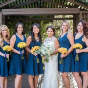 Bridesmaids-- Latina Rose and Yellow Babe Spray Rose wrapped in Navy Satin Ribbon