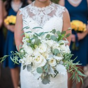 All White Bridal Bouquet-- Eskimo Roses, Stock, Lisianthks, Carnation, Dusty Miller, Silver Dollar Eucalyptus, Willow Eucalyptus
